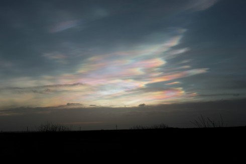 Nacreous Clouds over the sea at sunrise - Jeff Cox